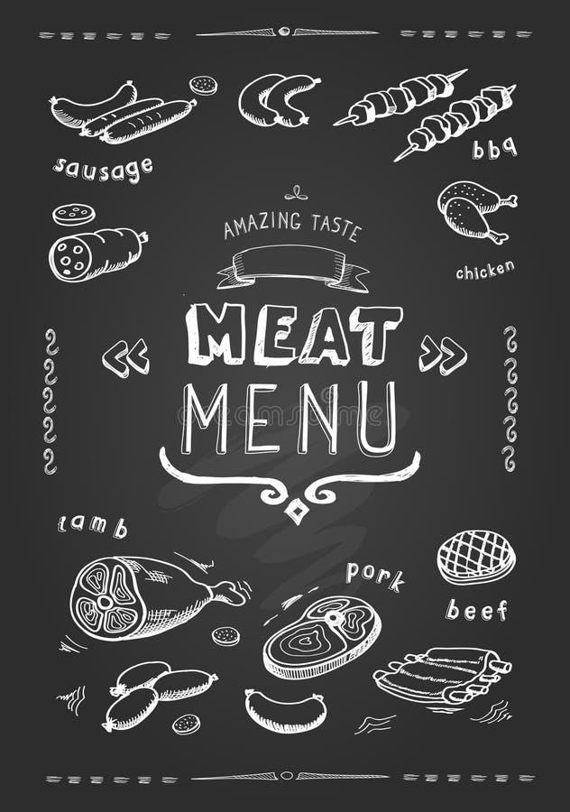 Köttmeny nötkött griskött, höna, lammsymboler, också vektor för coreldrawillustration royaltyfri illustrationer
