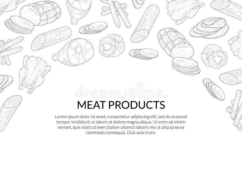 Köttproduktbanermall med stället för utdragna korvar för text och för hand, bacon, skivad salami, köttfärslimpamodellvektor stock illustrationer