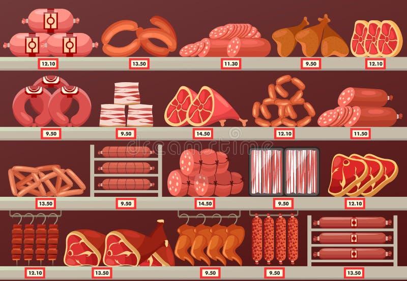 Köttprodukten på slaktarelagret eller shoppar stallen vektor illustrationer
