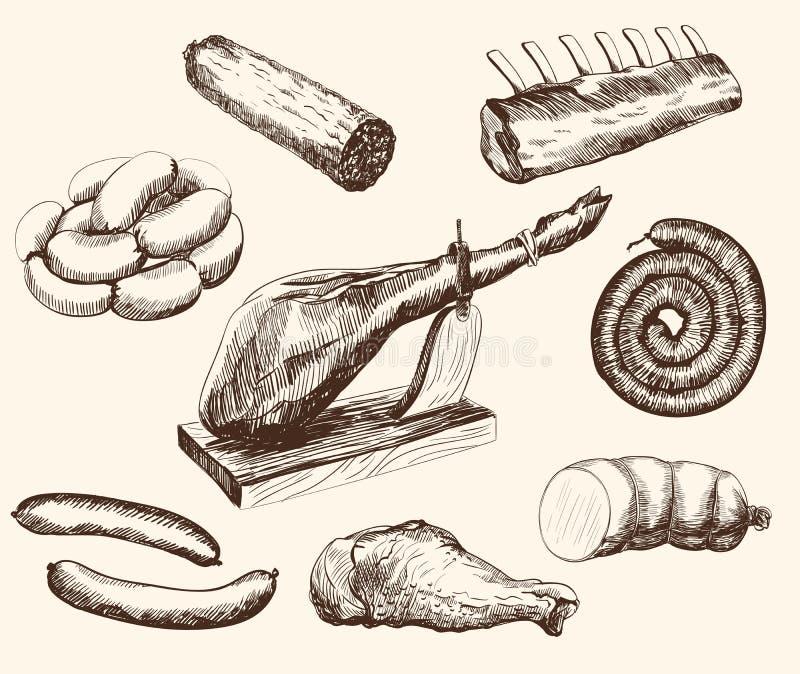 Köttprodukter royaltyfri illustrationer