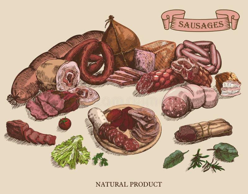 Köttprodukter stock illustrationer