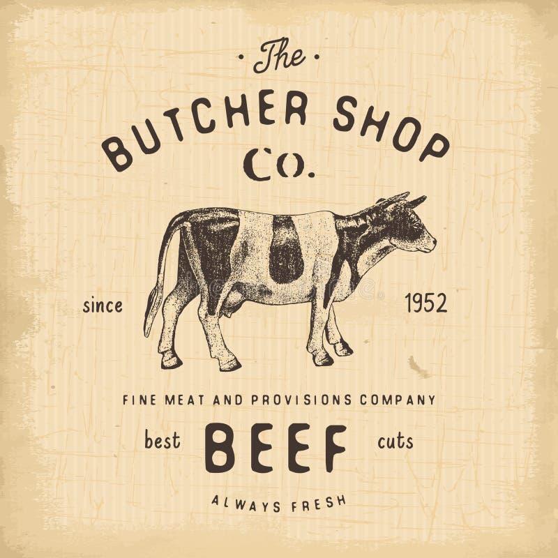 Köttprodukter för nötkött för emblem för slaktareShop tappning, retro stil för slaktlogomall Tappningdesign för logotypen, etiket royaltyfri illustrationer