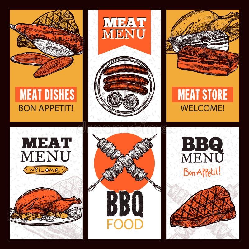 Kötträttlodlinjebaner royaltyfri illustrationer
