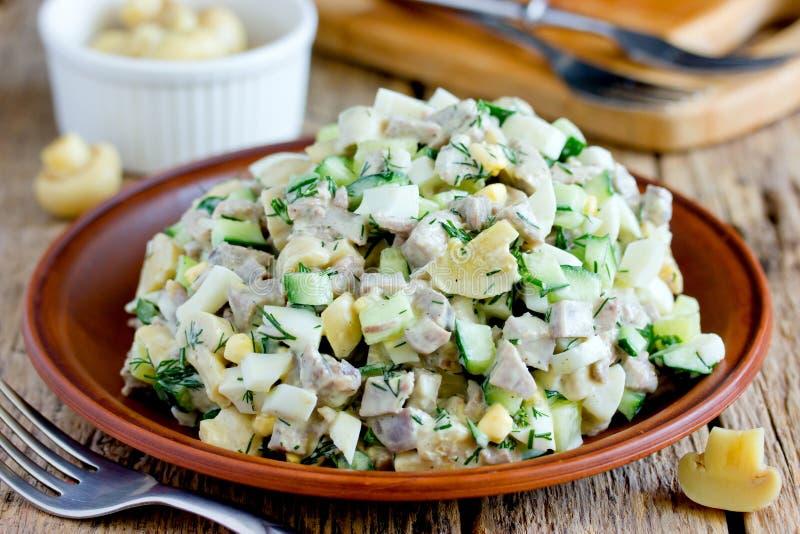 Köttsallad med den nya gurkan, marinerade champinjoner, kokade ägg fotografering för bildbyråer