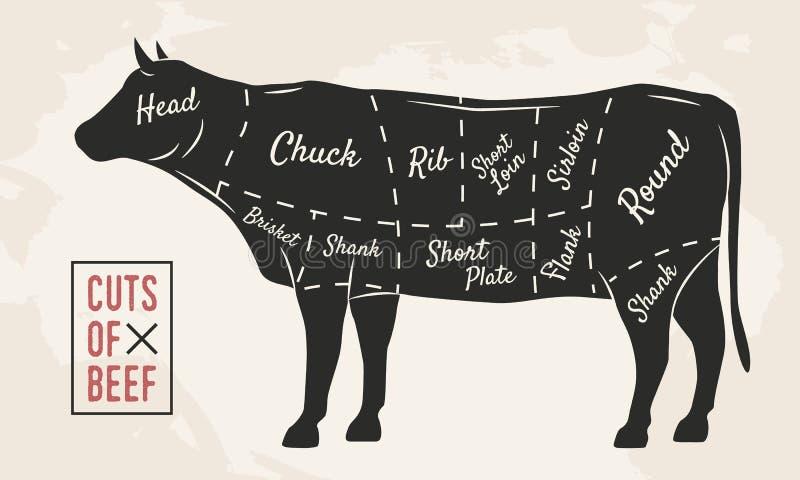Köttsnitt Nötköttsnitt Tappningaffischen för restaurang eller slaktaren shoppar Retro diagram också vektor för coreldrawillustrat royaltyfri illustrationer