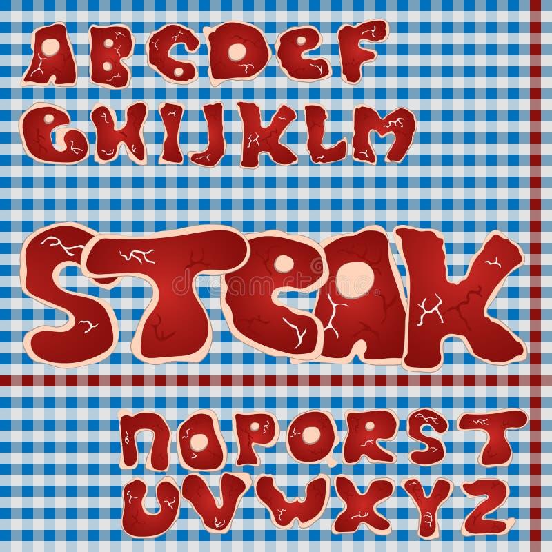 Köttstilsort Biffalfabet stock illustrationer