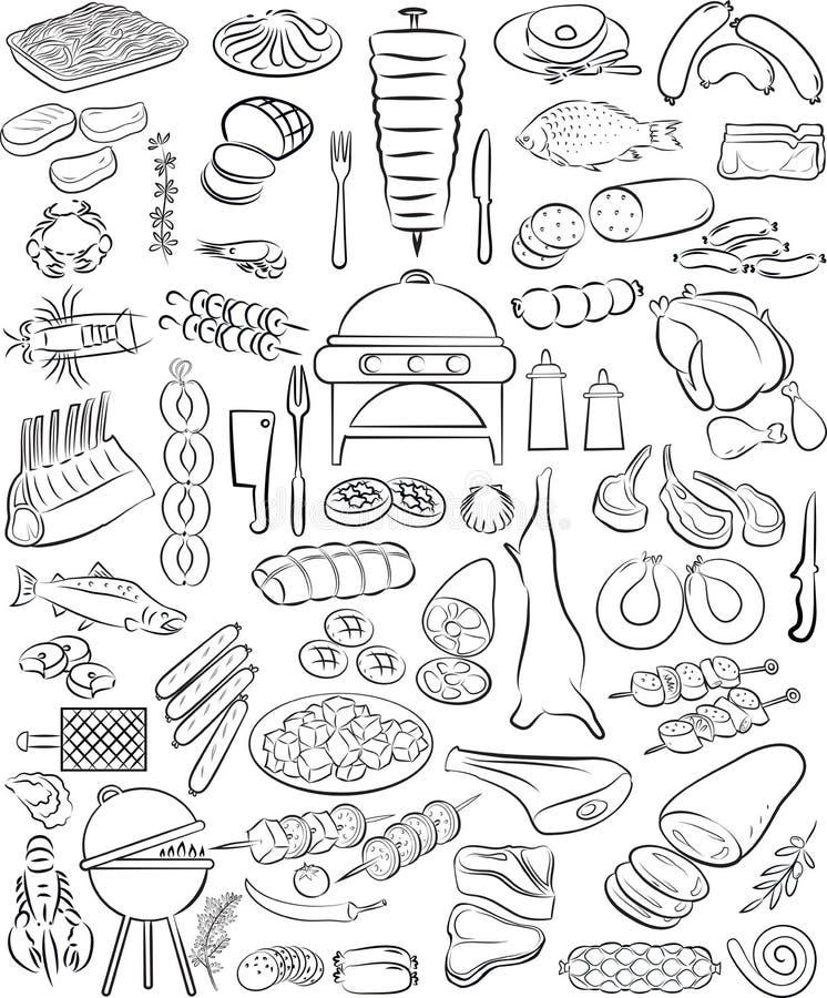 Köttuppsättning stock illustrationer