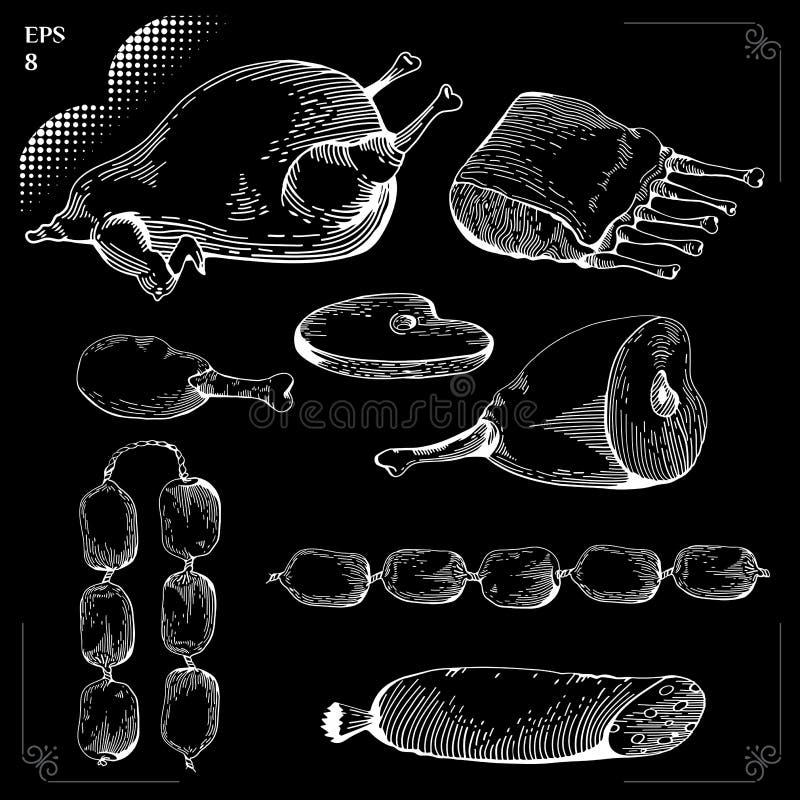 Köttuppsättning på den svart tavlan vektor illustrationer