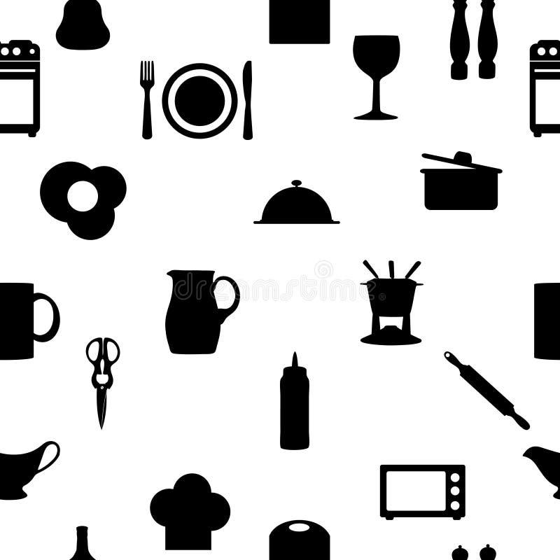 Küche bearbeitet nahtloses Muster Ikonen Schattenbildes stock abbildung