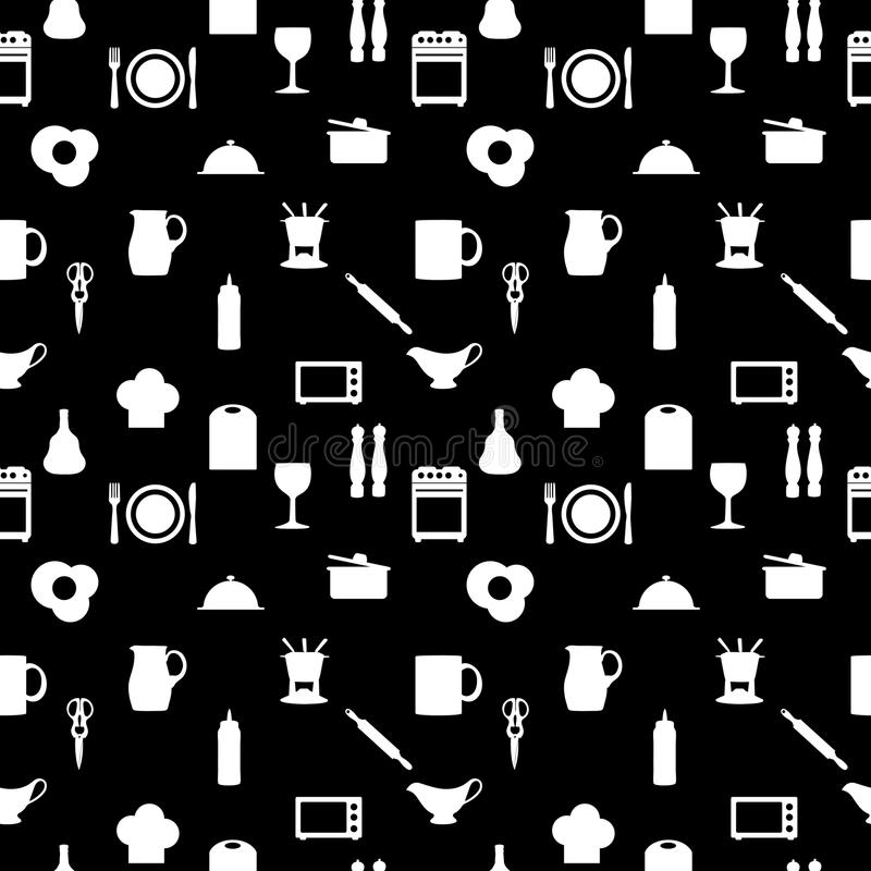 Küche bearbeitet nahtloses Muster Ikonen Schattenbildes vektor abbildung