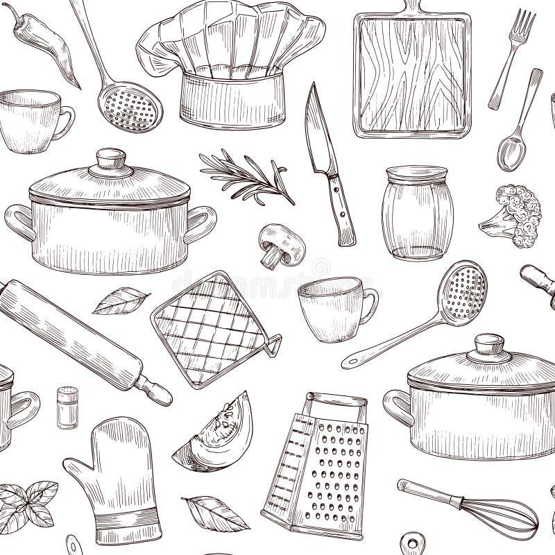 Küche bearbeitet nahtloses Muster Skizzenkochgeräte übergeben gezogenes Küchengeschirr Gravierter Küchenelementvektor lizenzfreie abbildung