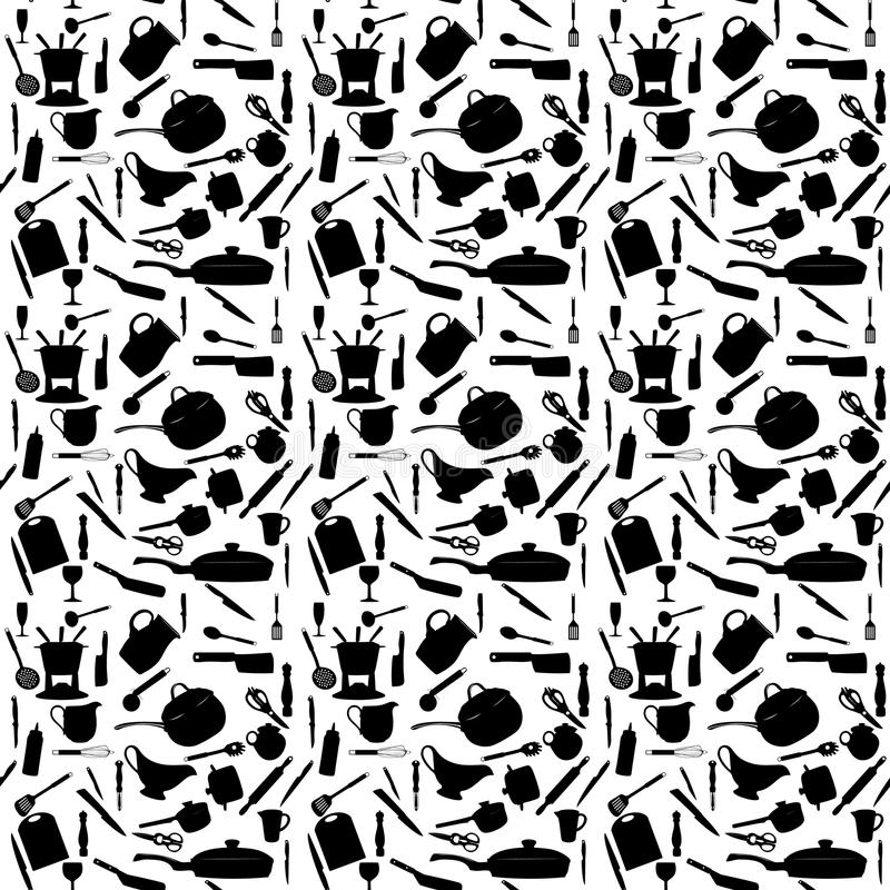 Küche bearbeitet Schattenbild Nahtloses Muster Vektor lizenzfreie abbildung