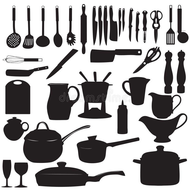 Küche bearbeitet Schattenbild-Vektorillustration lizenzfreie abbildung