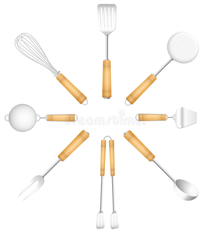 Küche bearbeitet Tischbesteck-Kreis Sun vektor abbildung