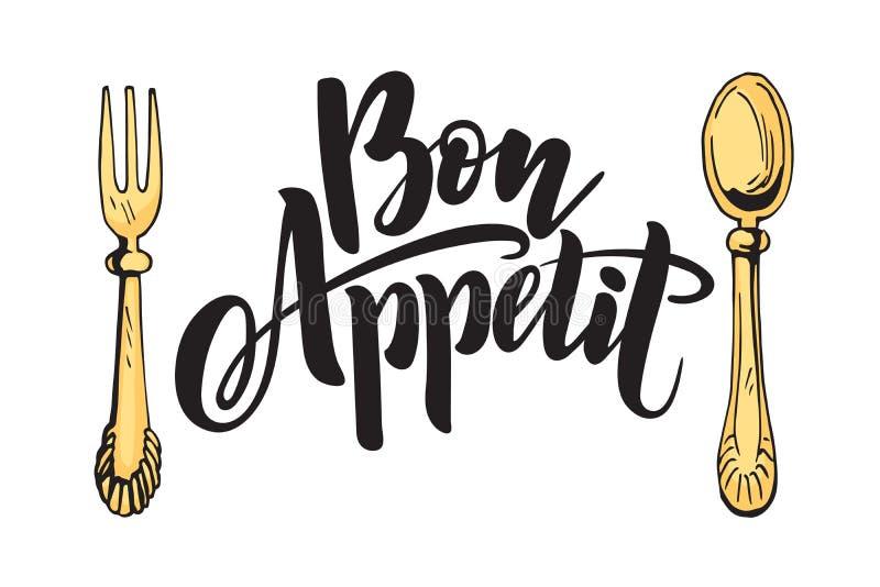 Küche, die Aufschriften, Farblogo, Kücheaufkleber beschriftend kocht Bon Appetit lizenzfreie abbildung