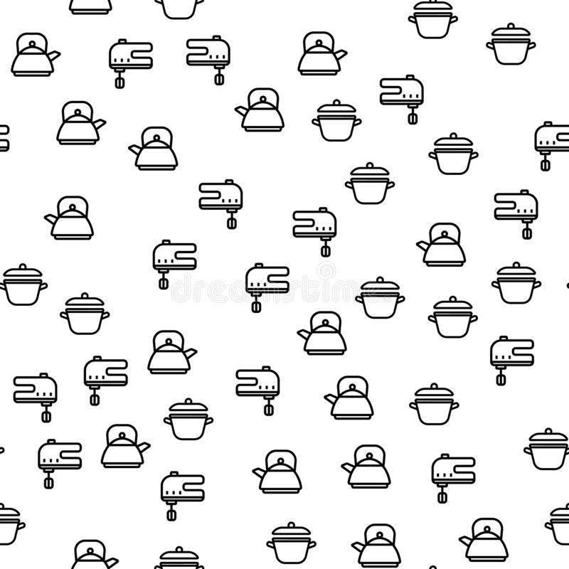 K?che, die Ausr?stungs-nahtlosen Muster-Vektor kocht lizenzfreie abbildung