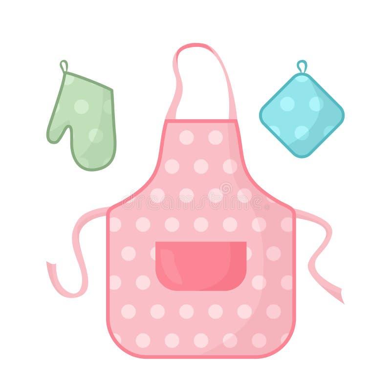 Küche, die Satz kocht Schutzblech, Oven Mitt, Potholder vektor abbildung