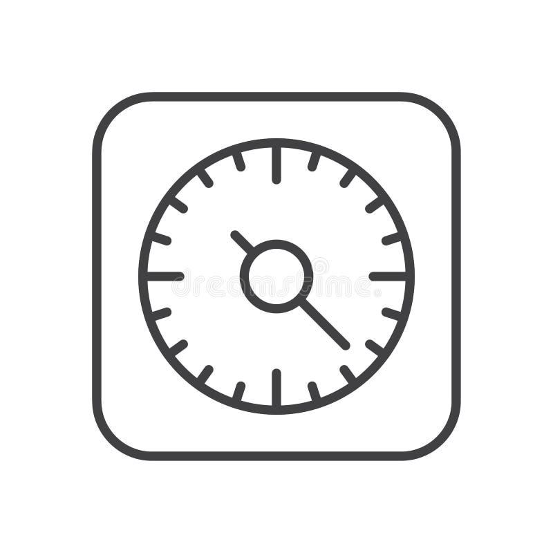 Küche, die Timer-Linie Ikone, Entwurfsvektorzeichen, lineares Artpiktogramm lokalisiert auf Weiß kocht vektor abbildung