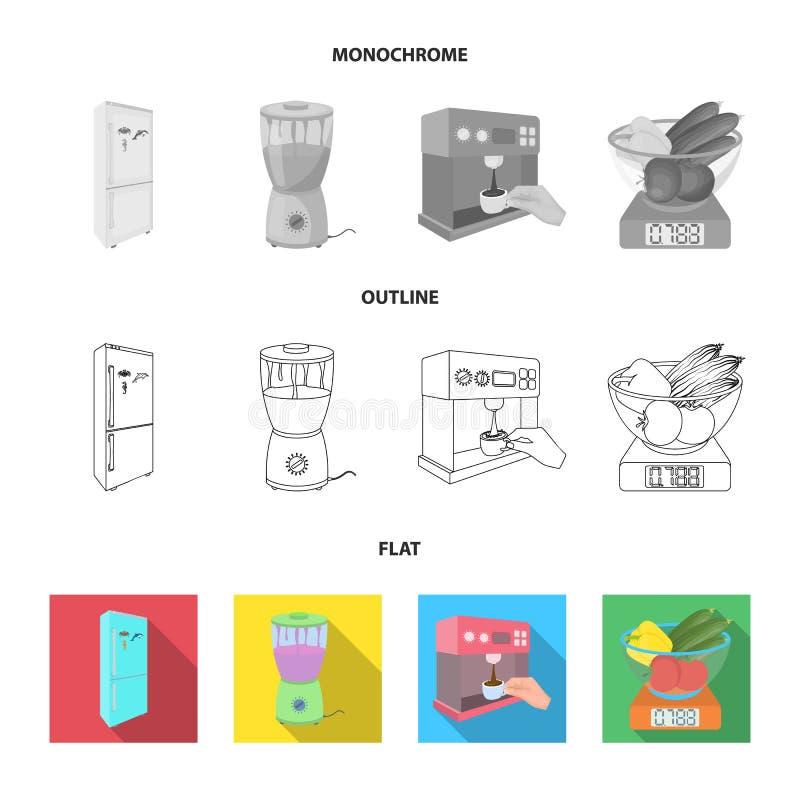 Küche, Erfrischung, Restaurant und andere Netzikone in der Ebene, Entwurf, einfarbige Art Knöpfe, Zahlen, Lebensmittelikonen im S stock abbildung
