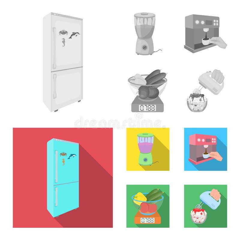 Küche, Erfrischung, Restaurant und andere Netzikone in der einfarbigen, flachen Art Knöpfe, Zahlen, Lebensmittelikonen im Satz lizenzfreie abbildung