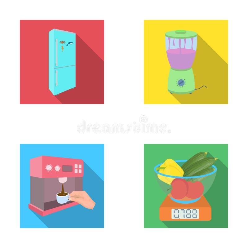 Küche, Erfrischung, Restaurant und andere Netzikone in der flachen Art Knöpfe, Zahlen, Lebensmittelikonen in der Satzsammlung stock abbildung