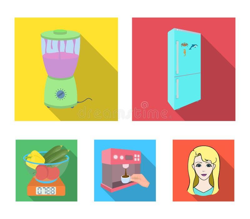 Küche, Erfrischung, Restaurant und andere Netzikone in der flachen Art Knöpfe, Zahlen, Lebensmittelikonen in der Satzsammlung lizenzfreie abbildung