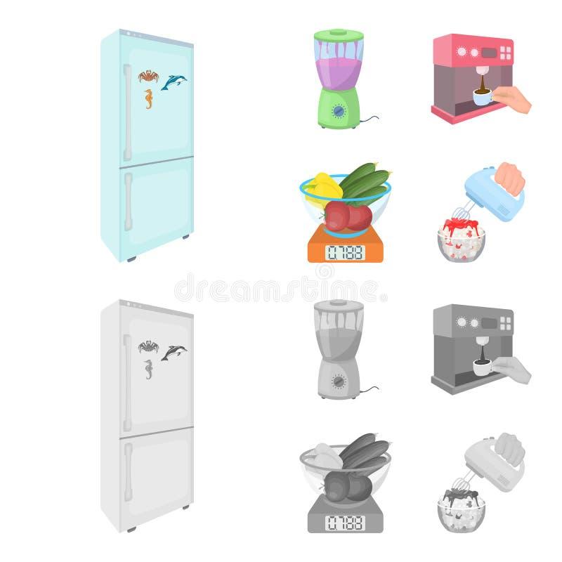 Küche, Erfrischung, Restaurant und andere Netzikone in der Karikatur, einfarbige Art Knöpfe, Zahlen, Lebensmittelikonen im Satz stock abbildung