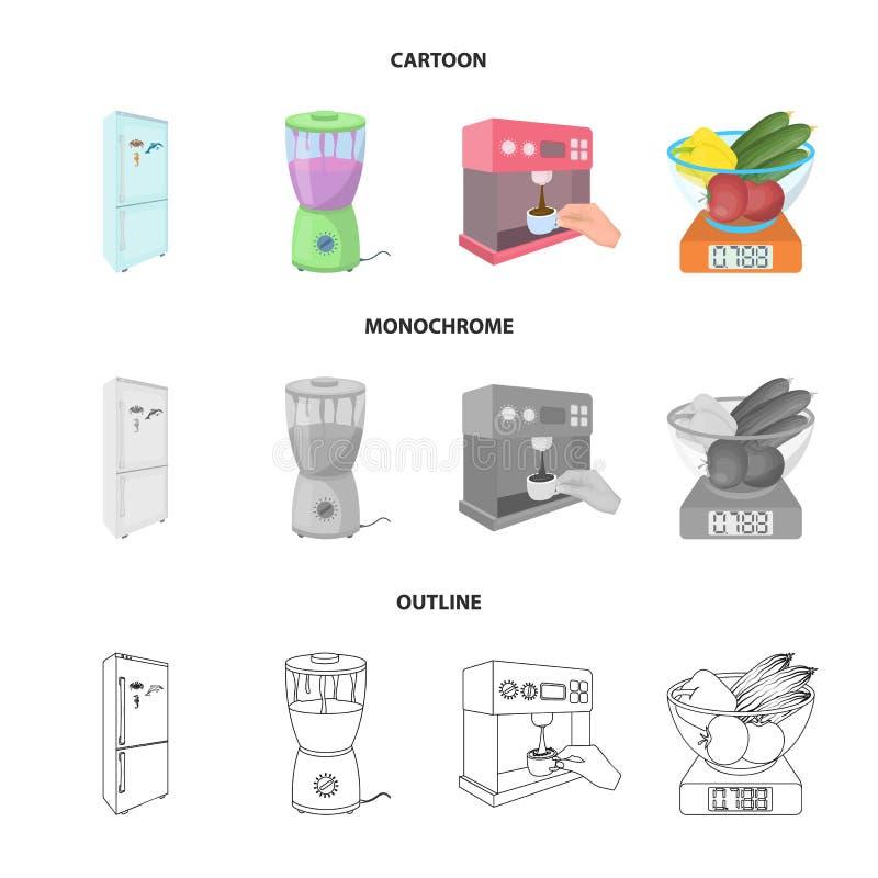Küche, Erfrischung, Restaurant und andere Netzikone in der Karikatur, Entwurf, einfarbige Art Knöpfe, Zahlen, Lebensmittelikonen  vektor abbildung