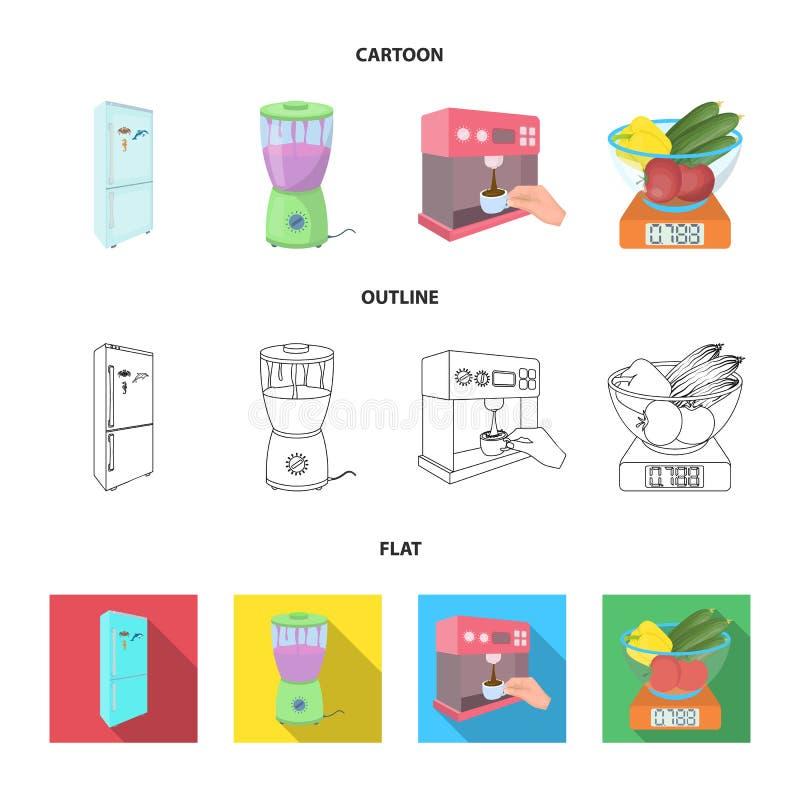 Küche, Erfrischung, Restaurant und andere Netzikone in der Karikatur, Entwurf, flache Art Knöpfe, Zahlen, Lebensmittelikonen im S vektor abbildung