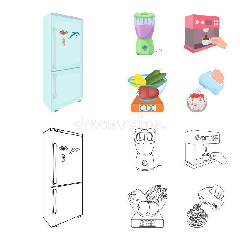 Küche, Erfrischung, Restaurant und andere Netzikone in der Karikatur, Entwurfsart Knöpfe, Zahlen, Lebensmittelikonen im Satz vektor abbildung