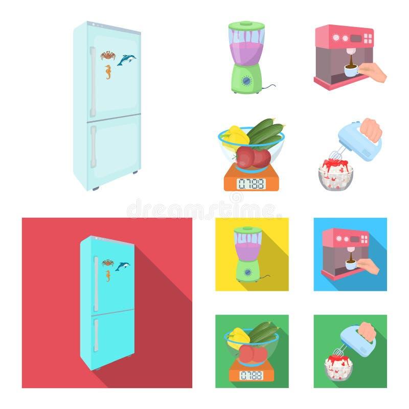Küche, Erfrischung, Restaurant und andere Netzikone in der Karikatur, flache Art Knöpfe, Zahlen, Lebensmittelikonen in der Satzsa vektor abbildung