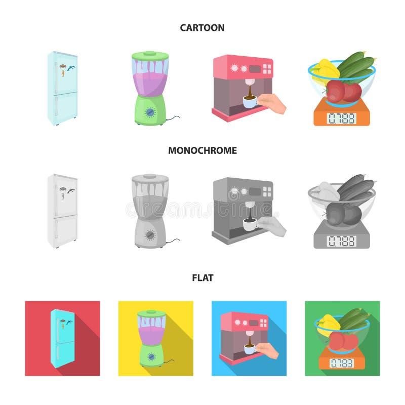 Küche, Erfrischung, Restaurant und andere Netzikone in der Karikatur, flache, einfarbige Art Knöpfe, Zahlen, Lebensmittelikonen i lizenzfreie abbildung