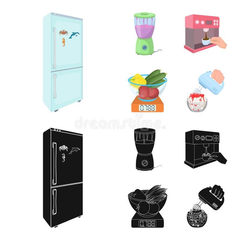 Küche, Erfrischung, Restaurant und andere Netzikone in der Karikatur, schwarze Art Knöpfe, Zahlen, Lebensmittelikonen im Satz stock abbildung