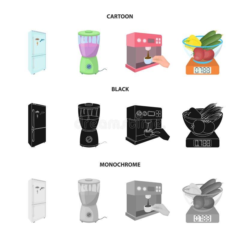 Küche, Erfrischung, Restaurant und andere Netzikone in der Karikatur, Schwarzes, einfarbige Art Knöpfe, Zahlen, Lebensmittelikone lizenzfreie abbildung