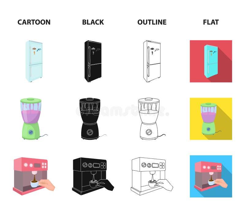 Küche, Erfrischung, Restaurant und andere Netzikone in der Karikatur, Schwarzes, Entwurf, flache Art Knöpfe, Zahlen, Lebensmittel vektor abbildung