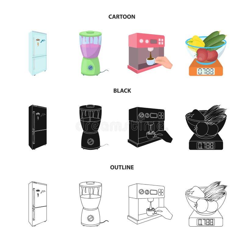 Küche, Erfrischung, Restaurant und andere Netzikone in der Karikatur, Schwarzes, Entwurfsart Knöpfe, Zahlen, Lebensmittelikonen i stock abbildung
