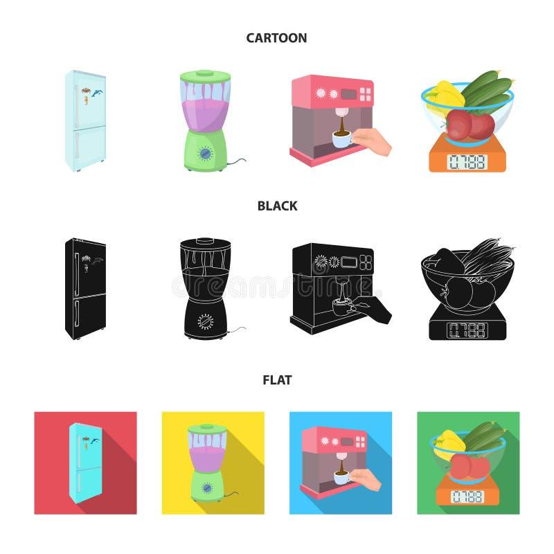 Küche, Erfrischung, Restaurant und andere Netzikone in der Karikatur, Schwarzes, flache Art Knöpfe, Zahlen, Lebensmittelikonen im lizenzfreie abbildung