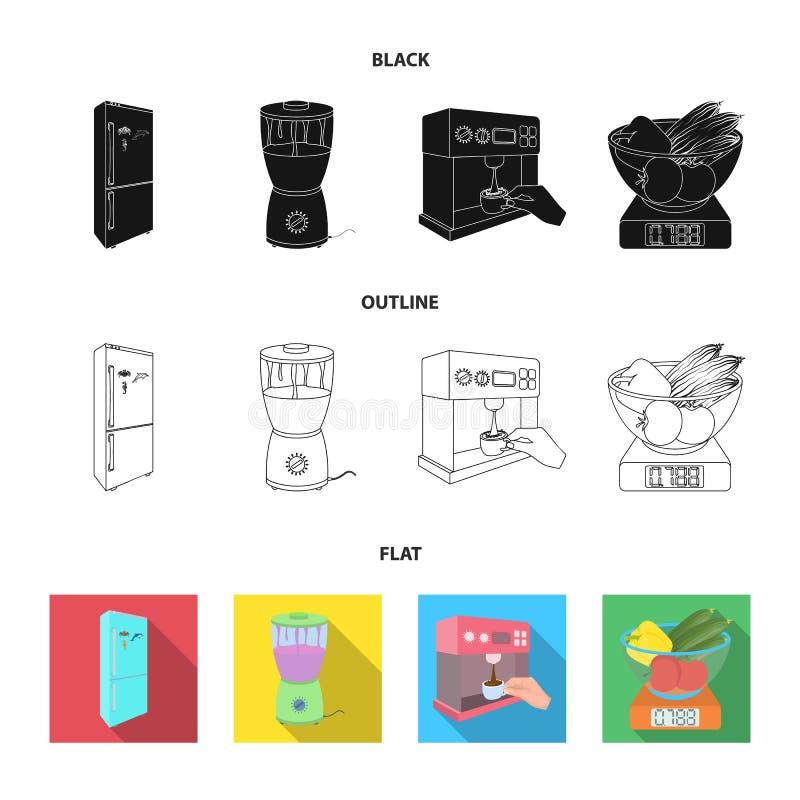 Küche, Erfrischung, Restaurant und andere Netzikone in der Karikaturart Knöpfe, Zahlen, Lebensmittelikonen in der Satzsammlung stock abbildung