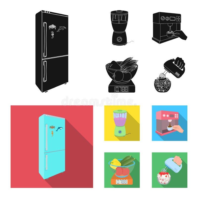 Küche, Erfrischung, Restaurant und andere Netzikone in der schwarzen, flachen Art Knöpfe, Zahlen, Lebensmittelikonen in der Satzs vektor abbildung