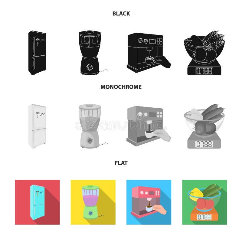 Küche, Erfrischung, Restaurant und andere Netzikone in der schwarzen, flachen, einfarbigen Art Knöpfe, Zahlen, Lebensmittelikonen vektor abbildung