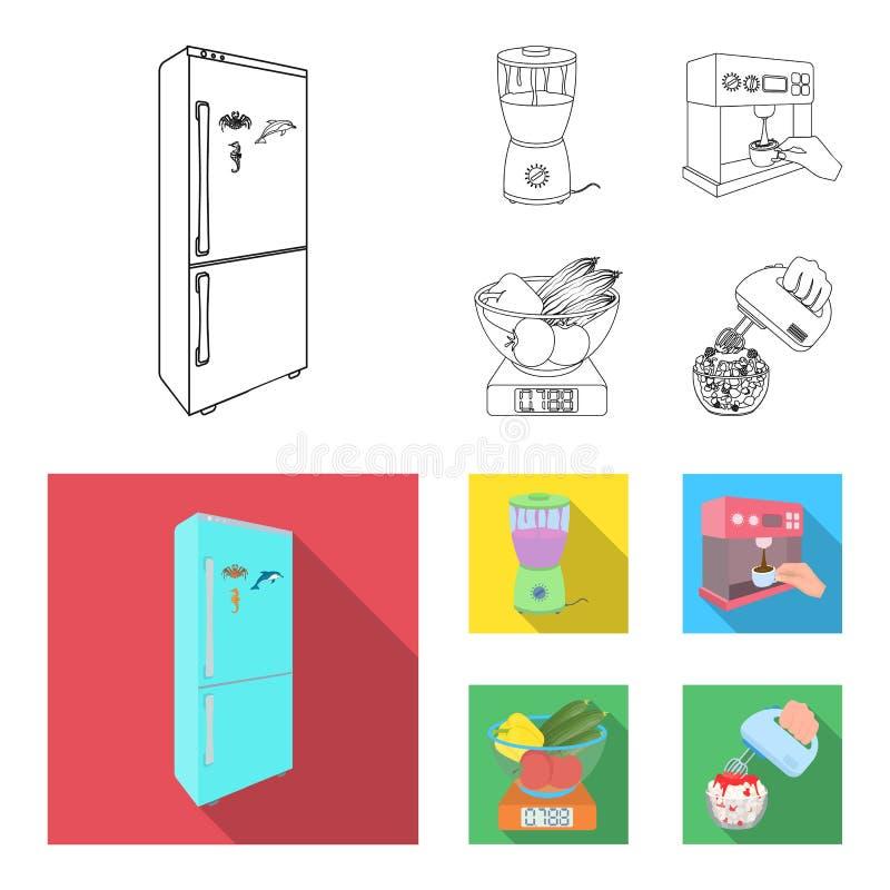 Küche, Erfrischung, Restaurant und andere Netzikone im Entwurf, flache Art Knöpfe, Zahlen, Lebensmittelikonen in der Satzsammlung vektor abbildung