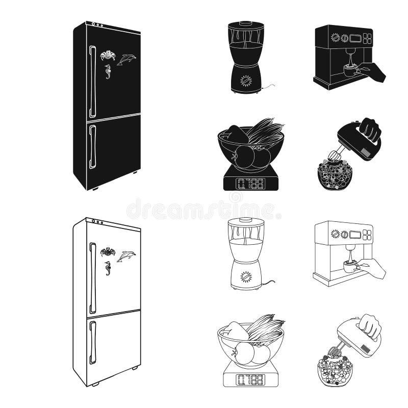 Küche, Erfrischung, Restaurant und andere Netzikone im Schwarzen, Entwurfsart Knöpfe, Zahlen, Lebensmittelikonen im Satz vektor abbildung