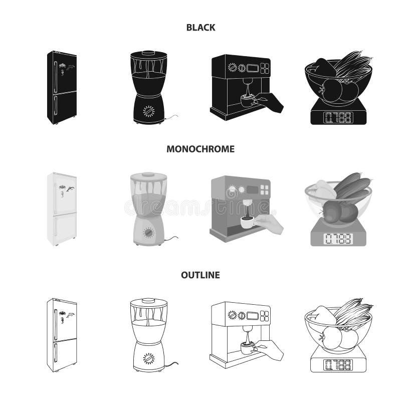 Küche, Erfrischung, Restaurant und andere Netzikone in Schwarzem, einfarbig, Entwurfsart Knöpfe, Zahlen, Lebensmittelikonen herei vektor abbildung