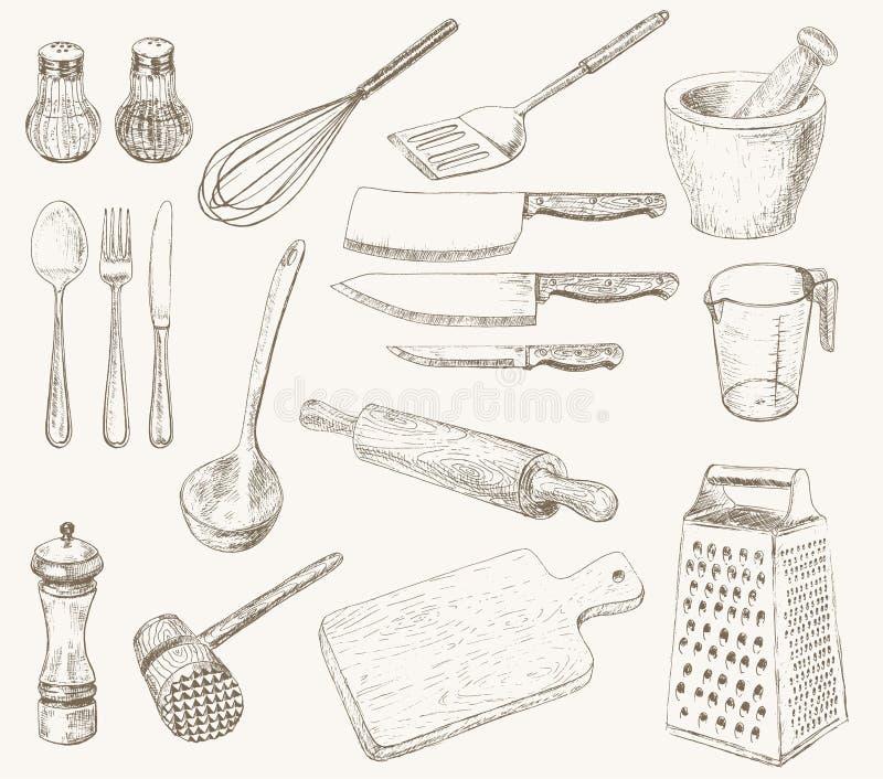 Küche-Geräte eingestellt vektor abbildung