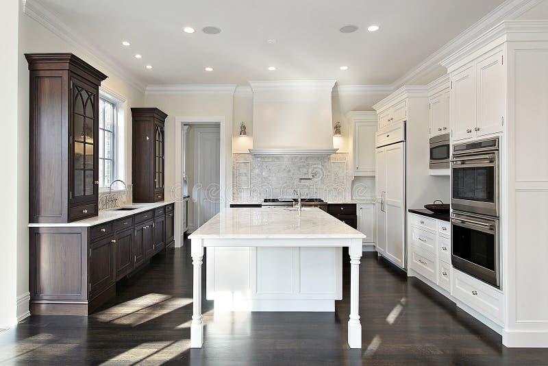 Küche mit Dunkelheit und Leuchte Cabinetry lizenzfreies stockfoto