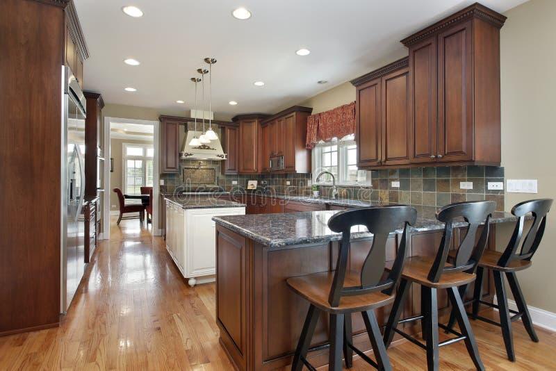 Küche mit dunklem Fliese backsplash lizenzfreies stockfoto