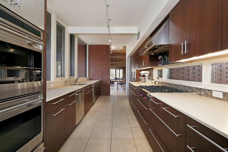 Küche mit dunklem hölzernem Cabinetry stockfotografie