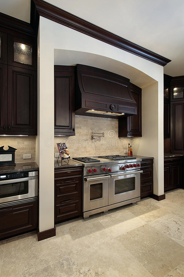Küche mit dunklem hölzernem Cabinetry stockfotos