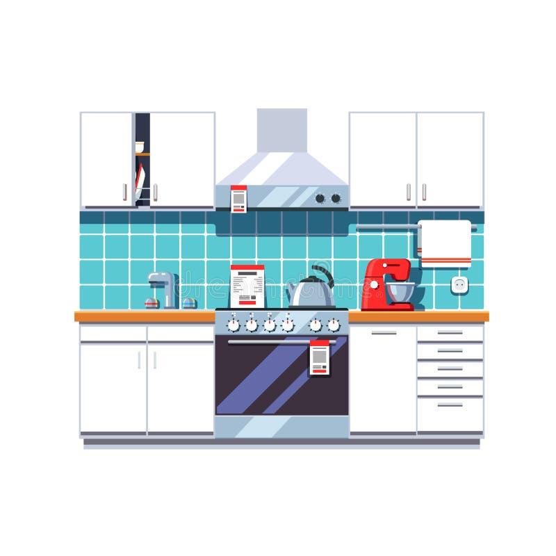 Küche mit Kabinetten legt, Ofen, Dunstabzugshaube beiseite vektor abbildung