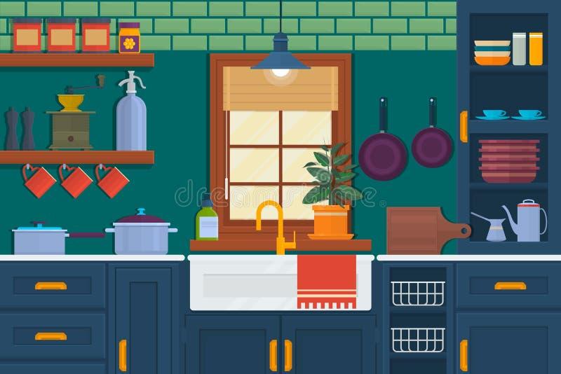 Küche mit Möbeln Gemütlicher Rauminnenraum mit Tabelle, Ofen, Schrank und Tellern Flache Artvektorillustration Vektor vektor abbildung